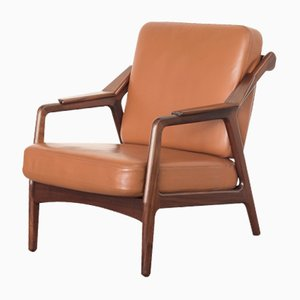 Mid-Century Teak & Leather Easy Chair by Brockmann Petersen for Randers