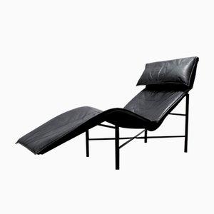 Chaise longue Skye in pelle nera di Tord Björklund per Ikea, anni '80