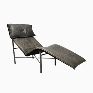 Chaise longue Skye in pelle marrone di Tord Björklund per Ikea, anni '80
