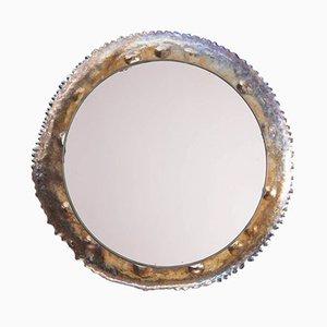Specchio a muro brutalista vintage con cornice in titanio, anni '70