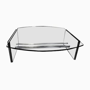 Vintage Italian Glass Coffee Table, 1970s
