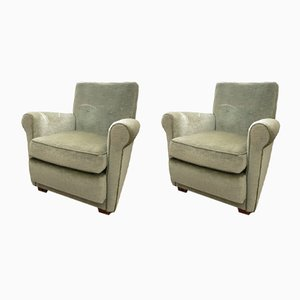 Grüne Sessel aus Samt, 1970er, 2er Set