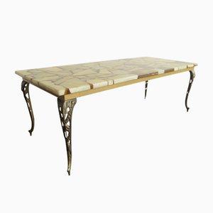 Tavolino da caffè Mid-Century in ottone, marmo e resina