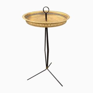 Italian Tripod Brass Side Table, 1950s