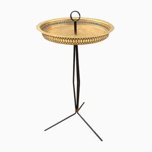 Italian Tripod Brass Side Table, 1950s