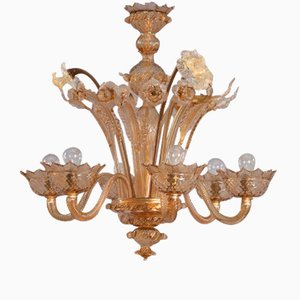 Lámpara de araña veneciana de vidrio soplado de Murano, años 40