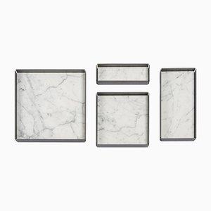 Bandejas modulares Fontane Bianche de mármol de Carrara blanco de Elisa Ossino para Salvatori