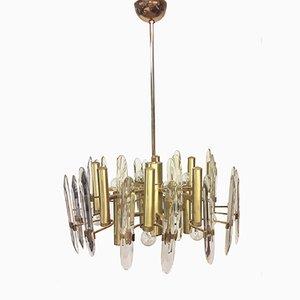 Lámpara de araña grande de Gaetano Sciolari, años 60