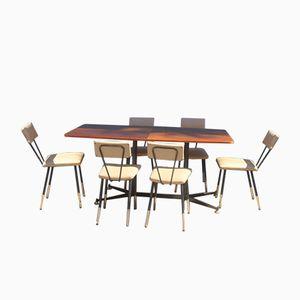 Italienischer Esstisch mit Stühlen, 1950er