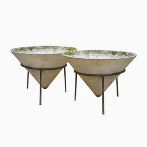 Reinforced Concrete Conical Planters, 1960s, Set of 2