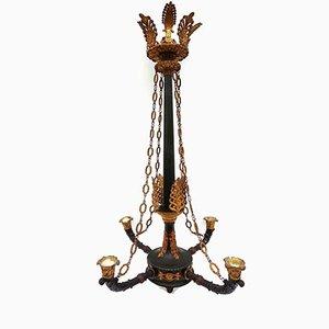 Antiker Kronleuchter aus Vergoldeter Bronze mit Vier Leuchten