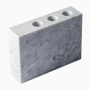 Soporte para cepillo de dientes PLAT-EAU Bath 01 de mármol Carrara blanco de Silvia Fanticelli para Salvatori