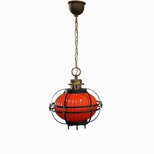 Vintage Pendant Lampion Lamp in Glass & Metal