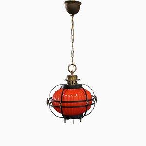 Vintage Pendant Lampion Lamp in Glass & Metal