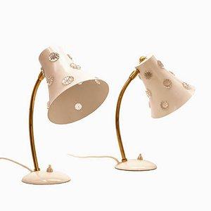 Lámparas de mesa con pantallas blancas de Emil Stejnar para Rupert Nikoll, años 50. Juego de 2