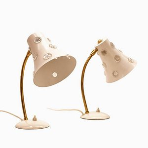 Table Lamps with White Shades by Emil Stejnar for Rupert Nikoll, 1950s, Set of 2
