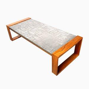Tavolino da caffè brutalista in alluminio e legno, anni '70