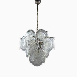 Lámpara de araña vintage con discos de vidrio de Vistosi