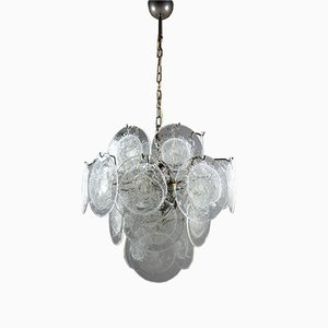 Vintage Glass Disc Chandelier from Vistosi