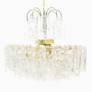 Lámpara de araña de vidrio de 3 niveles de Doria, años 60