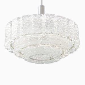 Lámpara de araña grande con 3 hileras con elementos de cristal de hielo de Doria, años 60