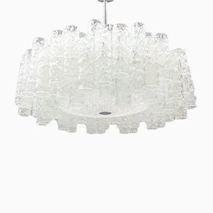 Lámpara de araña alemana de dos pisos de vidrio escarchado de Doria Leuchten, años 60