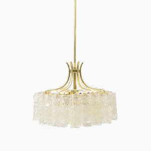 Lámpara de araña de tres pisos con tubos de vidrio de Doria Leuchten, años 60