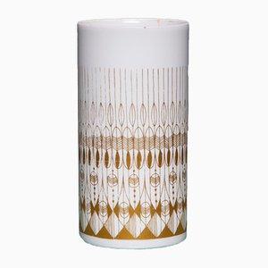 Vase Vintage Blanc & Doré de Hans Theo Baumann pour Rosenthal, 1970s