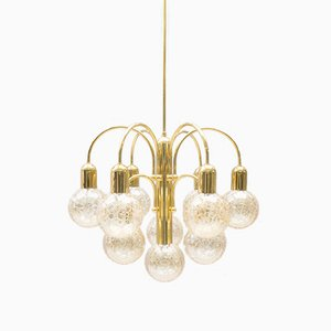 10-Light Pendant in Structured Glass, 1960s