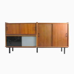 Sideboard in Mahogany Veneer and Glass, 1960s