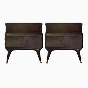 Italian Night Tables in Rosewood Veneer, 1950s, Set of 2