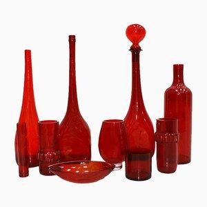 Juego Mid-Century de cristal soplado en rojo