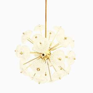 Czechoslovakian Sputnik Dandelion Glass Pendant Light by Jaroslav Bejvl for Lustry Kamenicky Senov, 1970s