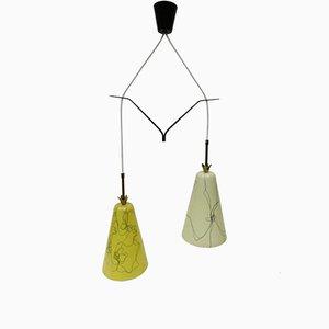 Hängelampe mit Leuchten aus Glasfaser in Gelb & Beige, 1950er
