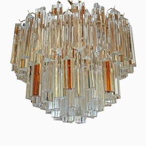 Lámpara de araña Mid-Century moderna con vidrio ámbar y transparente