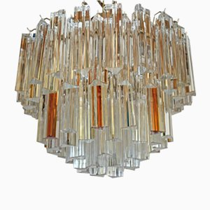 Mid-Century Modern Chandelier with Clear and Amber Glass