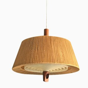Danish Pendant Light with Hemp String Shade, 1960s