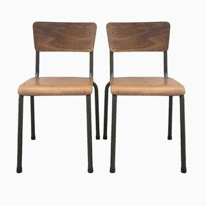 Belgian Industrial Chairs, 1950s, Set of 2