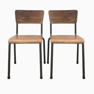 Belgische Industrielle Stühle, 1950er, 2er Set