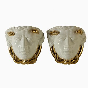 Vintage Italian Medusa Sconces in Enamel Ceramic by Piero Fornasetti, 1970s, Set of 2