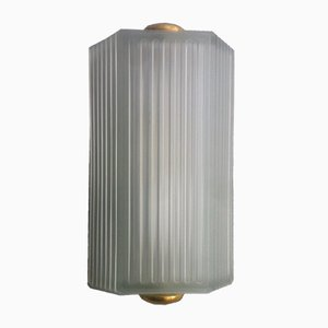 Art Deco Skyscraper Frosted Glass Sconce, 1930s