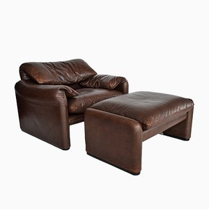 Maralunga Leather Lounge Chair & Ottoman by Vico Magistretti for Cassina, 1970s