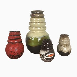 Vintage Fat Lava Vienna Vases by Scheurich, 1970s, Set of 4