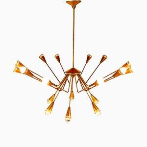 Lámpara de araña con 18 luces de Oscar Torlasco para Lumi, años 50