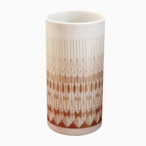 Vaso cilindrico Mid-Century bianco e oro di Hans Theo Baumann per Rosenthal Studio Line, anni '70