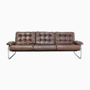 Canapé Vintage en Cuir & Chrome d'Ikea