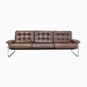 Vintage Leather & Chrome Sofa from Ikea