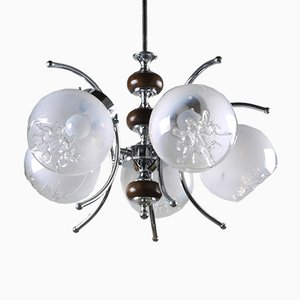 Mid-Century Italian Chrome Five Arm Chandelier with Murano Glass Shades
