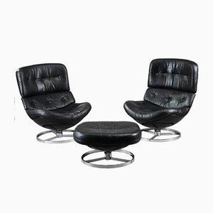 Vintage Fiberglass & Leather Swivel Lounge Chairs and Ottoman