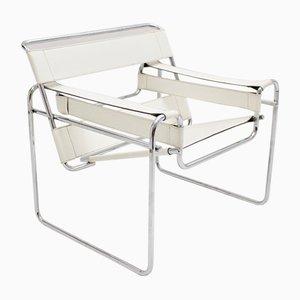 Weißer Vintage Wassily Armlehnstuhl von Marcel Breuer